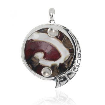 сребърен медальон, ръчна изработка, керамика,