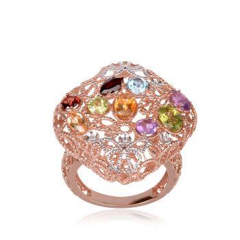 сребърен пръстен , розова позлата естествени камъни