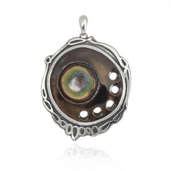 сребърен медальон, ръчна изработка, оксидирано сребро , керамика
