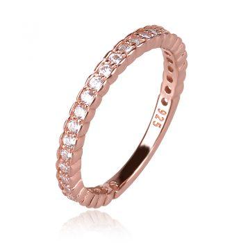 rose gold plated silver ring, rose gold, ring, ring with stones,сребърен пръстен с розова позлата, халка с розова позлата и цирконии, халка с цирконии