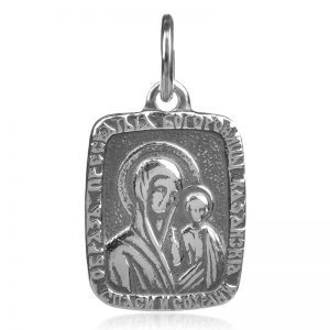 silver pendant, сребърен медальон Богородица