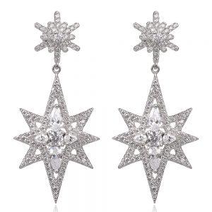 сребърни обеци с цирконии звезди тип APM Monaco