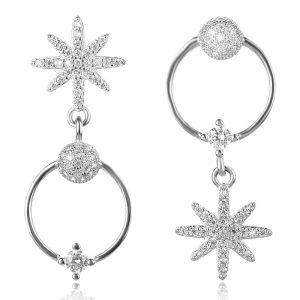сребърни асиметрични обеци звезди