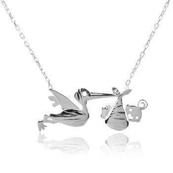 сребърно колие бебе и щъркел, silver necklace
