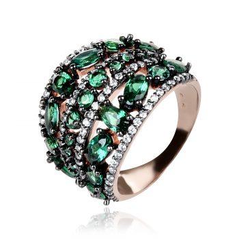 сребърен пръстен изумрудено зелено
