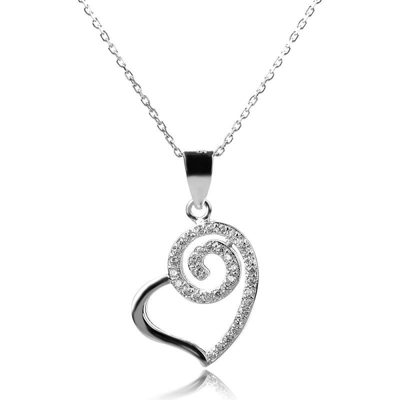 сребърно колие сърце, silver necklace heart