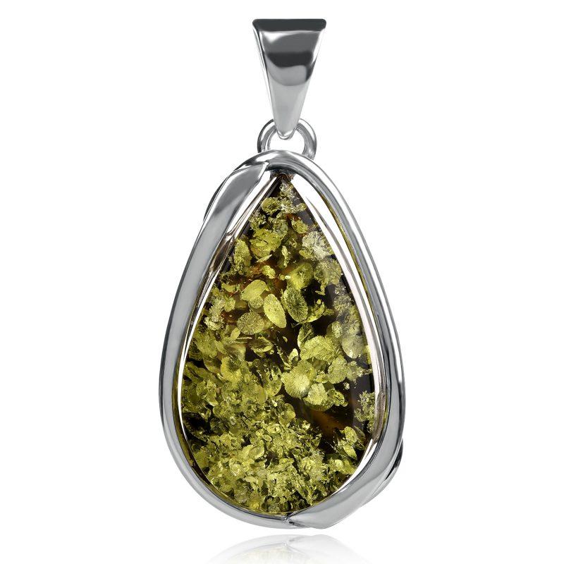 сребърен медальон зелен кехлибар