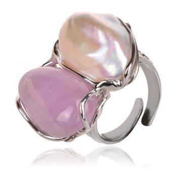 silver ring. rose quarz, сребърен пръстен с розов кравц и перла барок