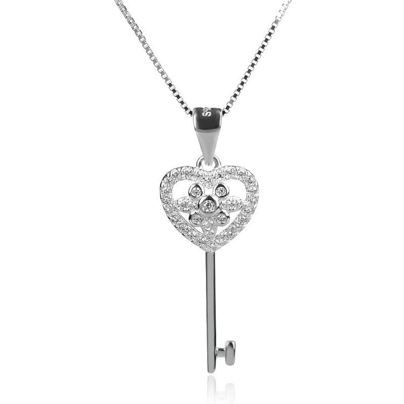 сребърно колие ключ сърце