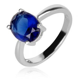 сребърен пръстен със син камък