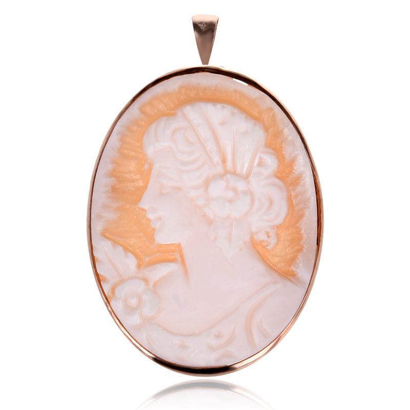 сребърен медальон- брошка с Камея