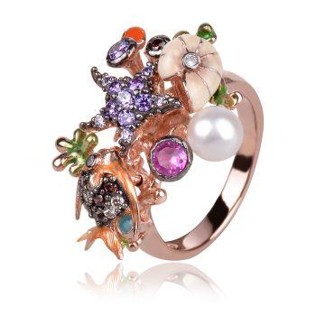 сребърен пръстен GANEZZI, морско дъно, емайл, турмалини, перла, цирконии
