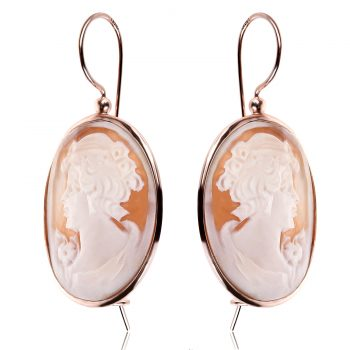 сребърни обеци с розова позлата и Камея