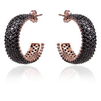 сребърни обеци халки с розова позлата и черни цирконии, silver earrings rose gold plated black cubic zirconia