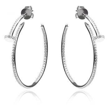 "Сребърни обици, обеци тип халка , модел ""Cartier"", silver earrings"
