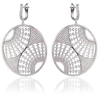 сребърни обеци с кръгла форма и цирконии