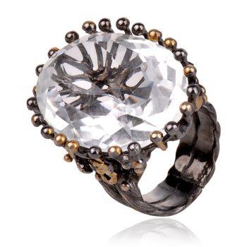 сребърен пръстен с планински кристал