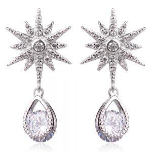 сребърни обеци с цирконии звезда и капка стил APM Monaco