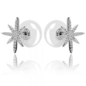 Сребърни обеци звезда и перла стил APM Monaco