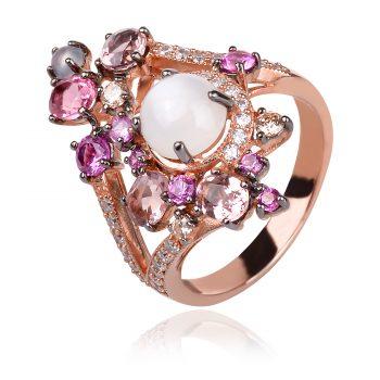 сребърен пръстен GANEZZI с розова позлата, турмалини, халцедон и цирконии