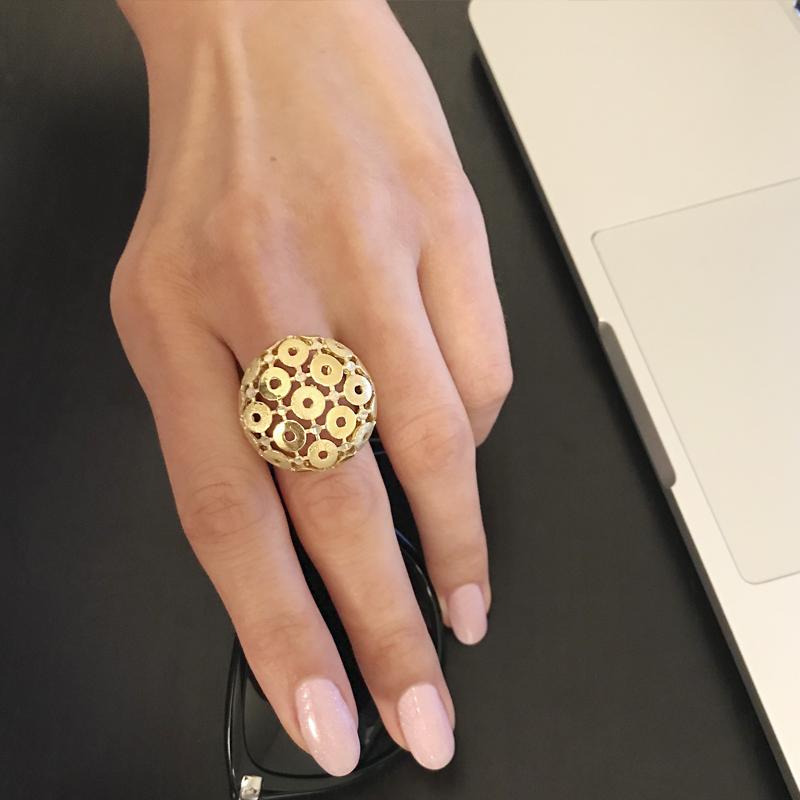 сребърен пръстен с позлата