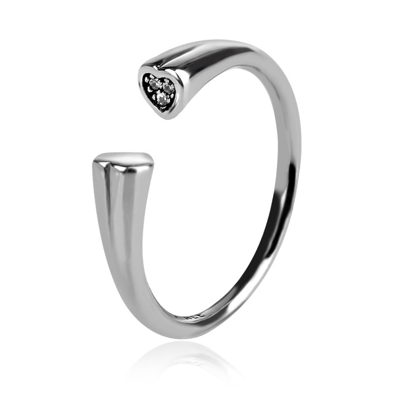 сребърен пръстен , родиево покритие
