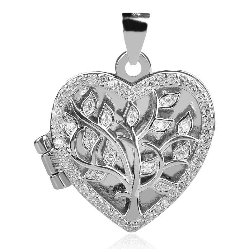 сребърен медальон сърце отварящо се дървото на живота