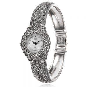 сребърен часовник с марказит