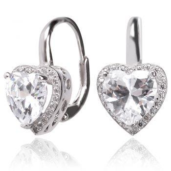 Сребърни обеци сърце с цирконии