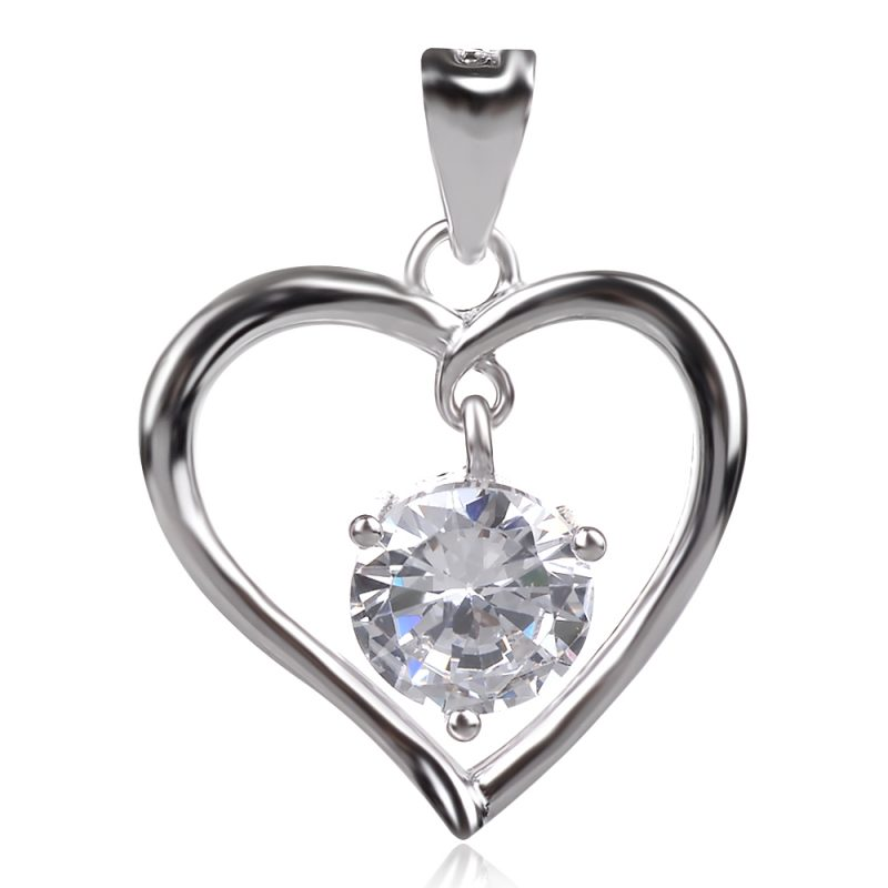 Сребърен медальон Сърце с подвижно камъче циркон