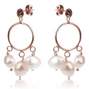сребърни обеци с розова позлата и малки барокови перли, стил бохо