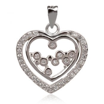 сребърен медальон сърце с цирконии