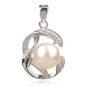 сребърен медальон с бяла перла и цирконии