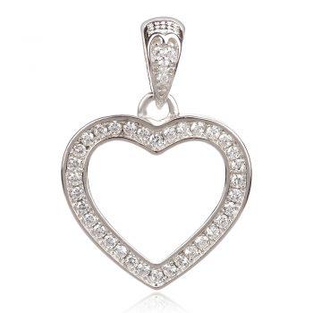 сребърен медальон сърце контур с циркони