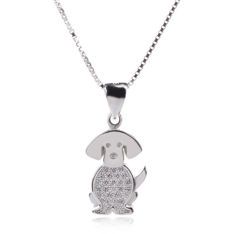 колие, сребърен медальон куче с цирконии