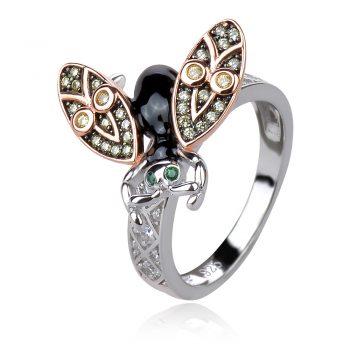 сребърен пръстен муха с позлата и цирконии и емайл