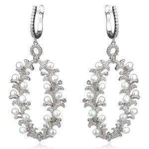 луксозни сребърни обеци с микро перли и цирконии
