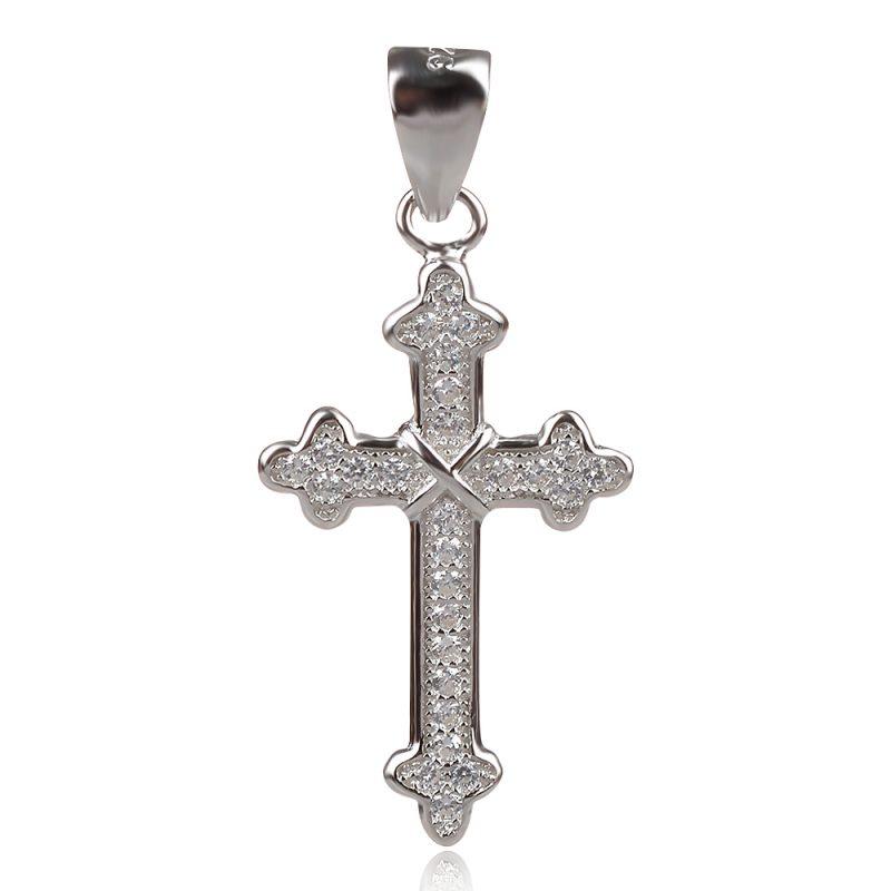 сребърен православен кръст с цирконии, подходящ за кръщене