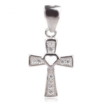 сребърен кръст с цирконии за кръщене