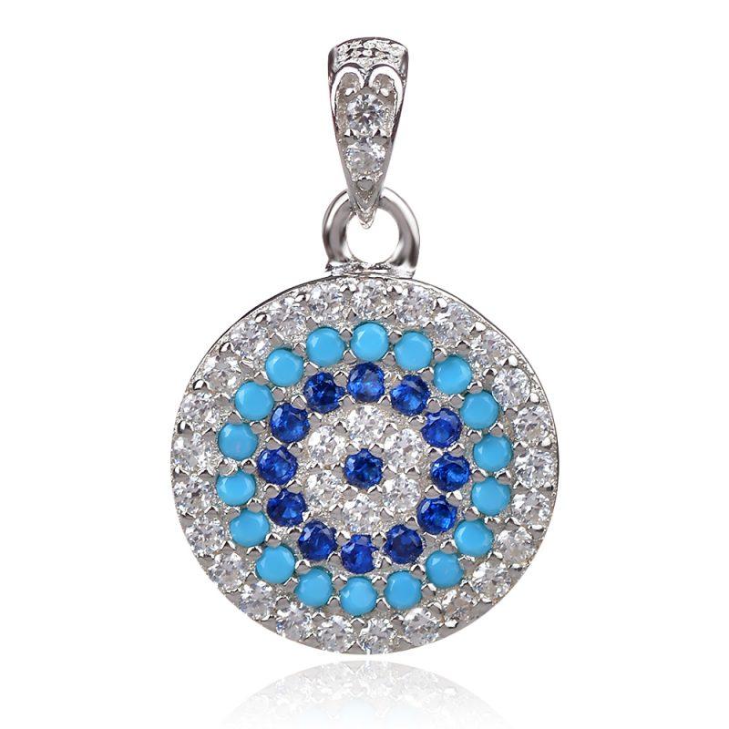 сребърен медальон Окото на Назар синьо око
