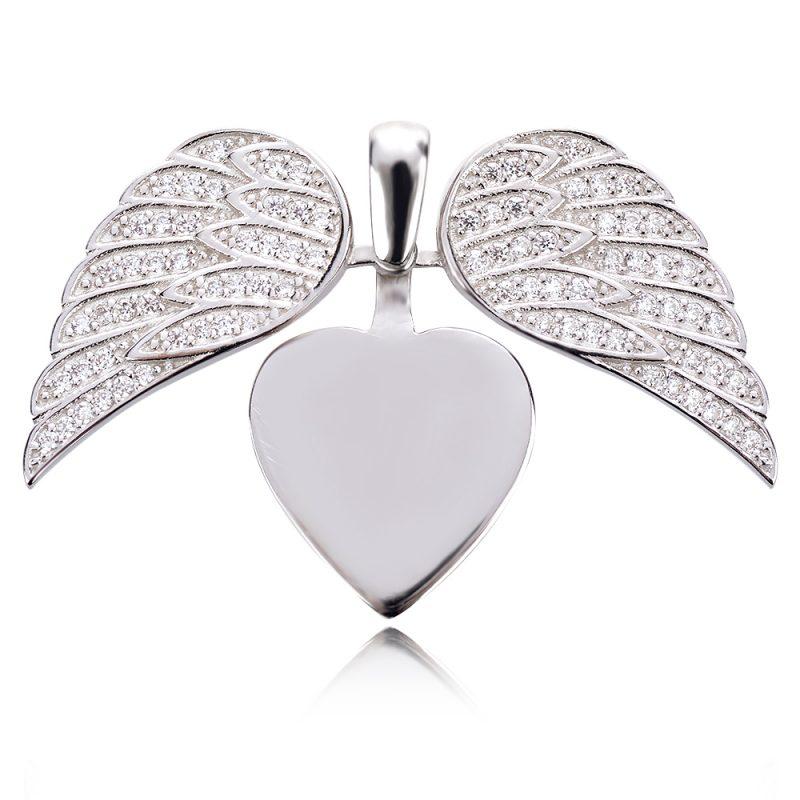 сребърен медальон сърце с ангелски крила