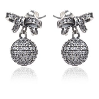 сребърни обеци Нежност, панделка с топче, стил Pandora