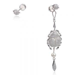 Сребърни обеци , асиметрични, родиево покритие, скарабей