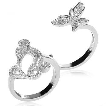 сгъваем двоен сребърен пръстен