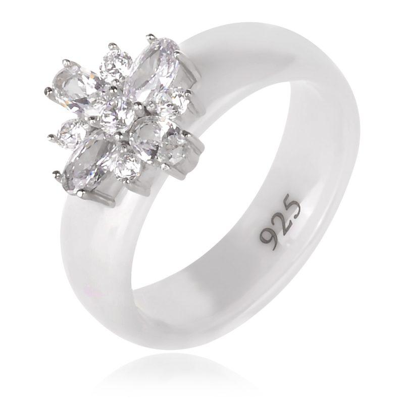 сребърен пръстен халка с бяла керамика