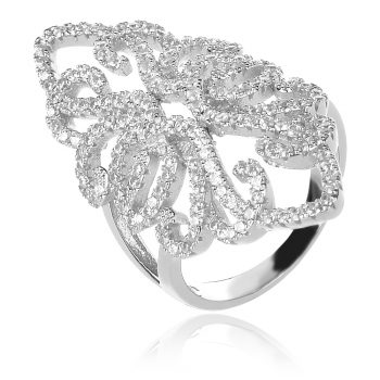Сребърен пръстен за повод с цирконии