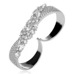 сребърен двоен пръстен с цирконии