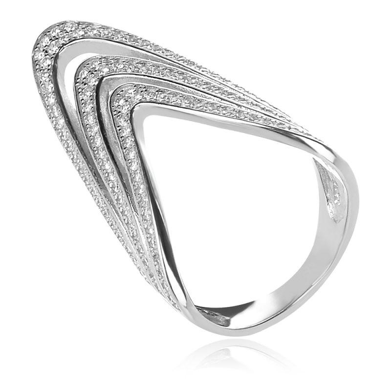 ефектен сребърен пръстен с цирконии
