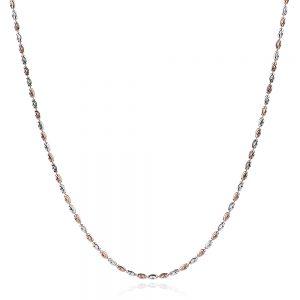 сребърен синджир с розова позлата