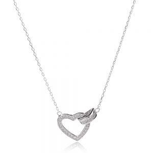 сребърно колие сърце с цирконии